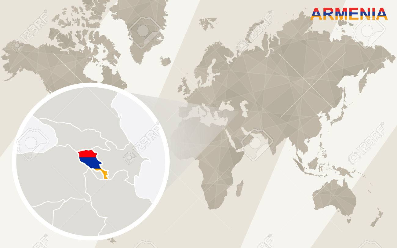 Zoom On Armenia Map And Flag World Map Royalty Free Cliparts