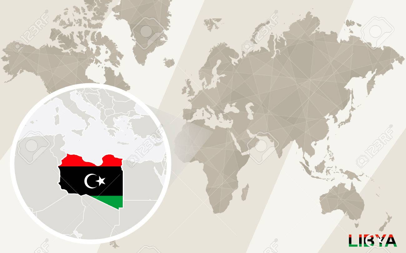 Libya On A World Map.Zoom On Libya Map And Flag World Map Royalty Free Cliparts