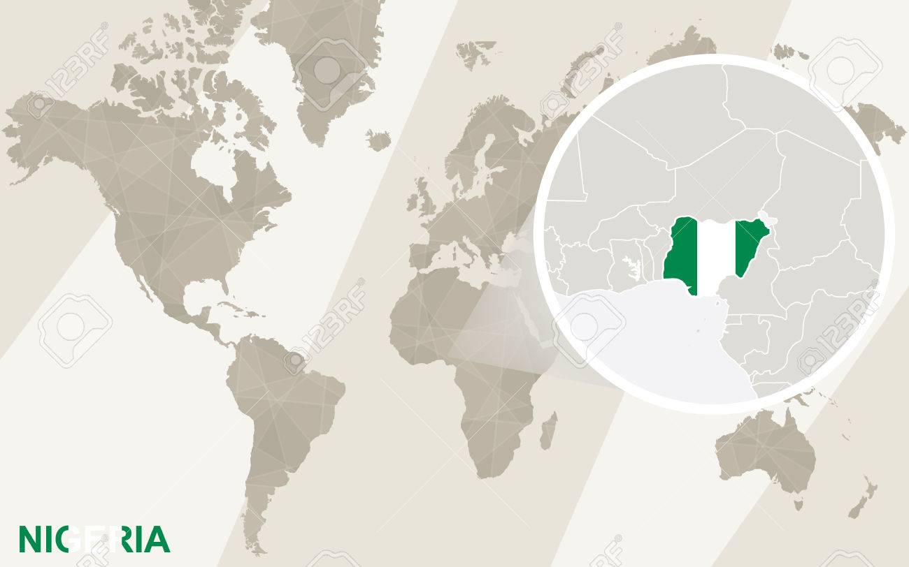 Zoom On Nigeria Map And Flag World Map Royalty Free Cliparts