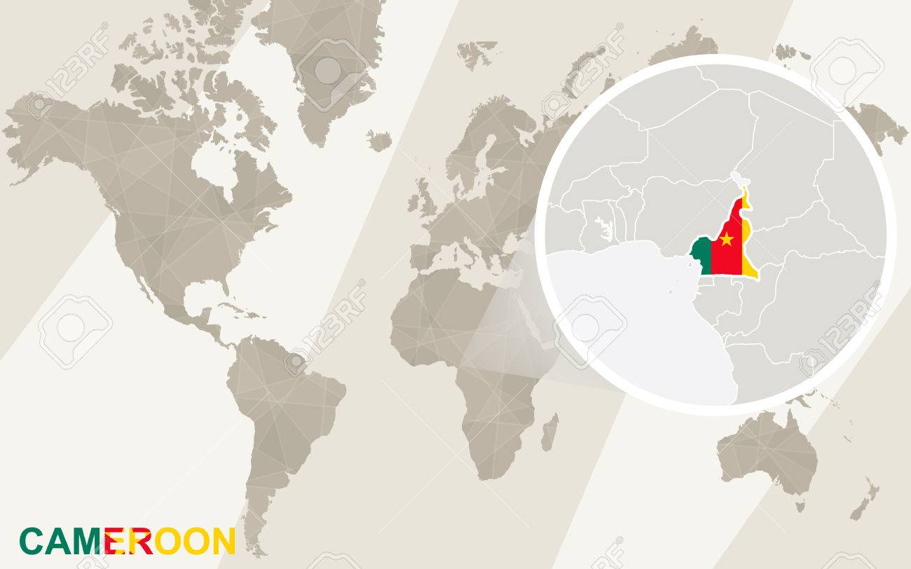 Zoom on Cameroon Map and Flag. World Map.