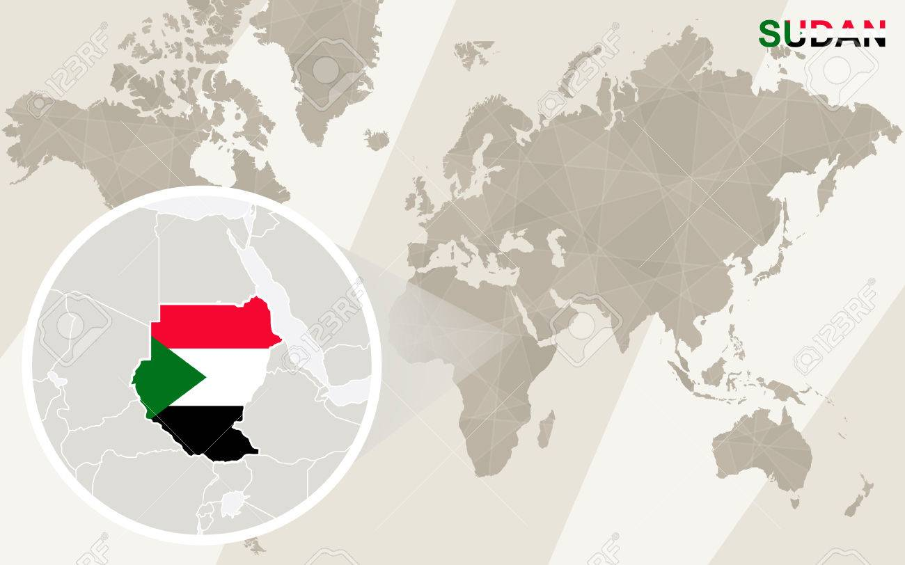 Zoom On Sudan Map And Flag World Map Royalty Free Cliparts