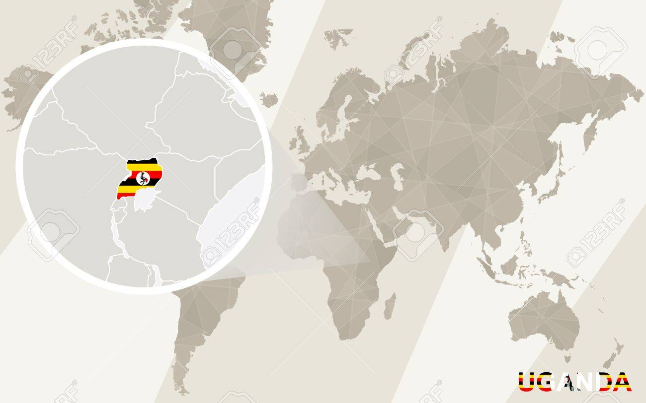 Zoom On Uganda Map And Flag. World Map. Royalty Free Cliparts ...