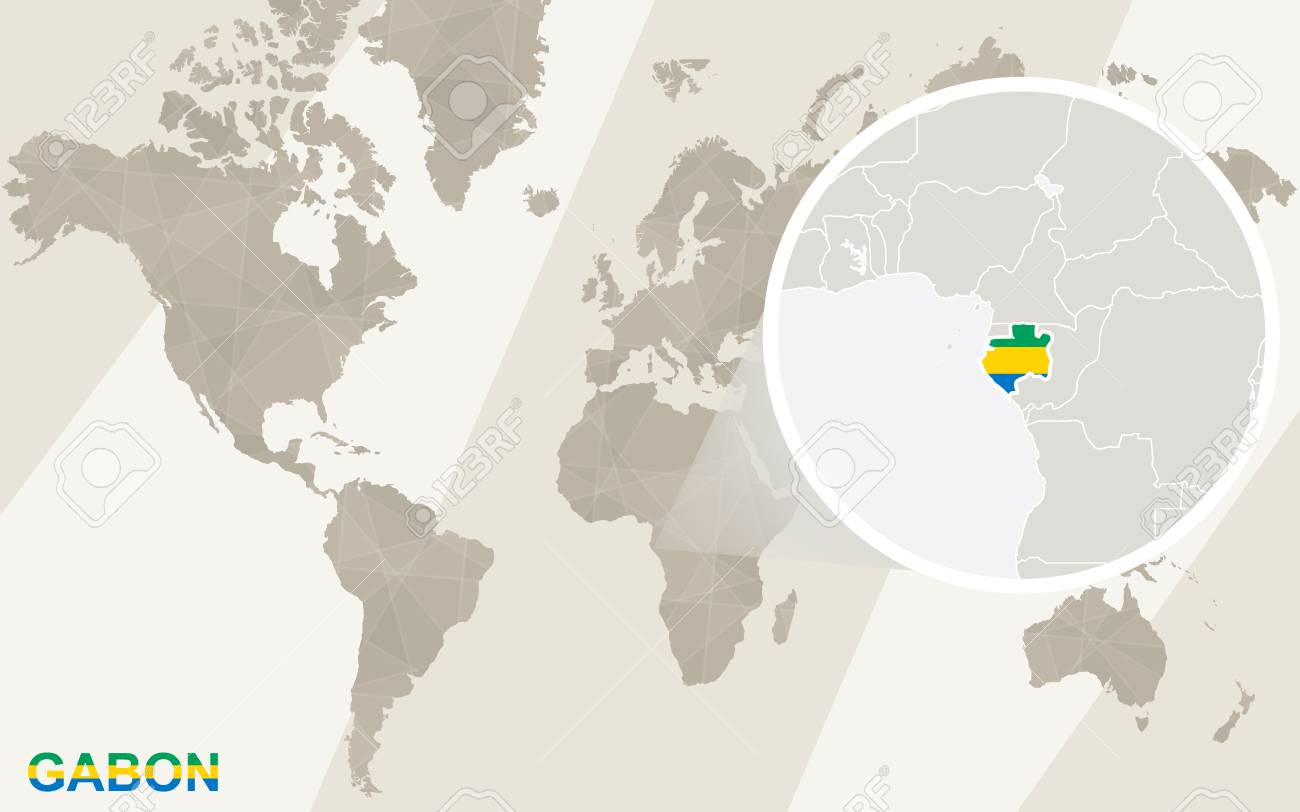 Gabon World Map.Zoom On Gabon Map And Flag World Map Royalty Free Cliparts