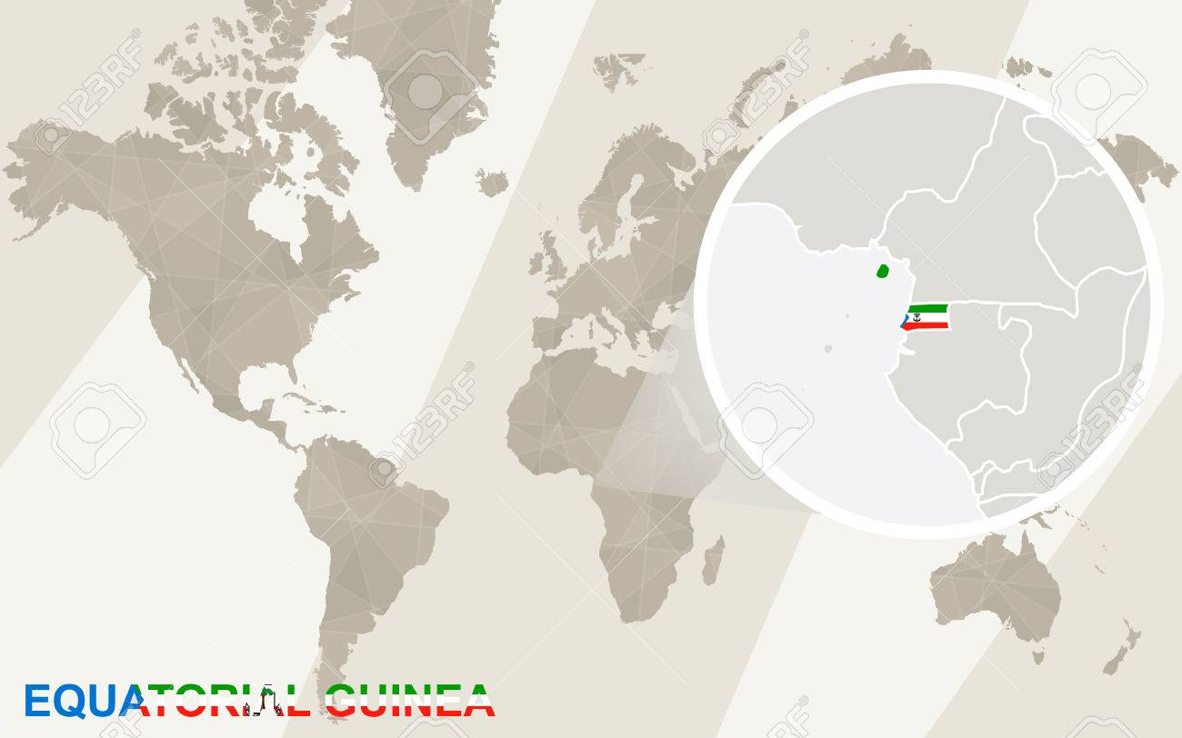 Zoom on Equatorial Guinea Map and Flag. World Map. Equatorial Guinea On World Map on equatorial guinea africa, ghana world map, cape verde world map, equatorial guinea on map south america, malabo map, equator location on map, heremakono on the location of guinea africa map, tunisia world map,
