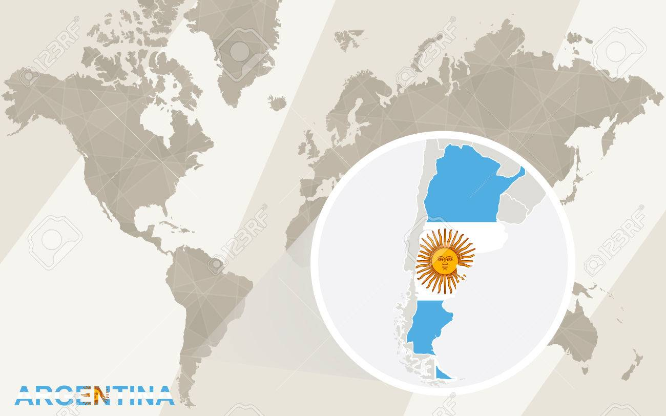 Zoom On Argentina Map And Flag World Map Royalty Free Cliparts - Argentina map world