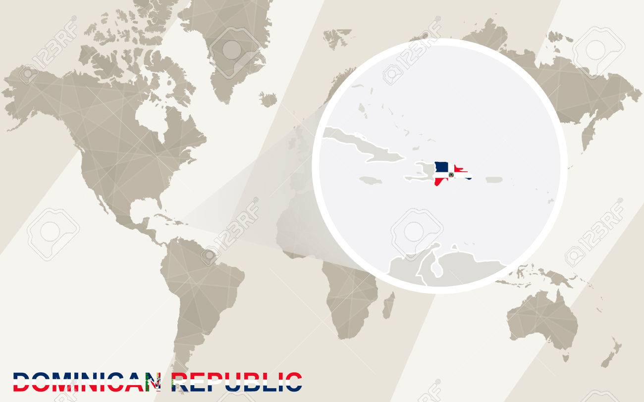 Where Is The Dominican Republic On A World Map.Zoom On Dominican Republic Map And Flag World Map Royalty Free