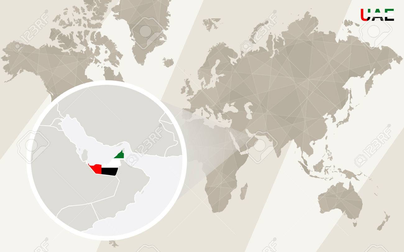 Zoom on United Arab Emirates Map and Flag. World Map. - 53985828