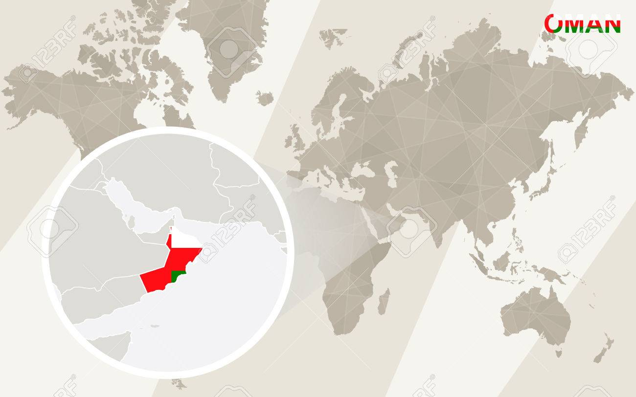 Zoom on Oman Map and Flag. World Map. - 53985796