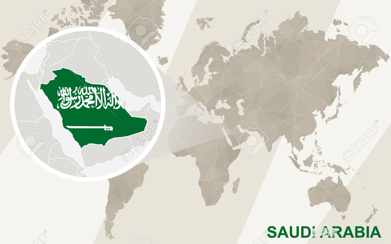 Zoom On Saudi Arabia Map And Flag. World Map. Royalty Free Cliparts ...