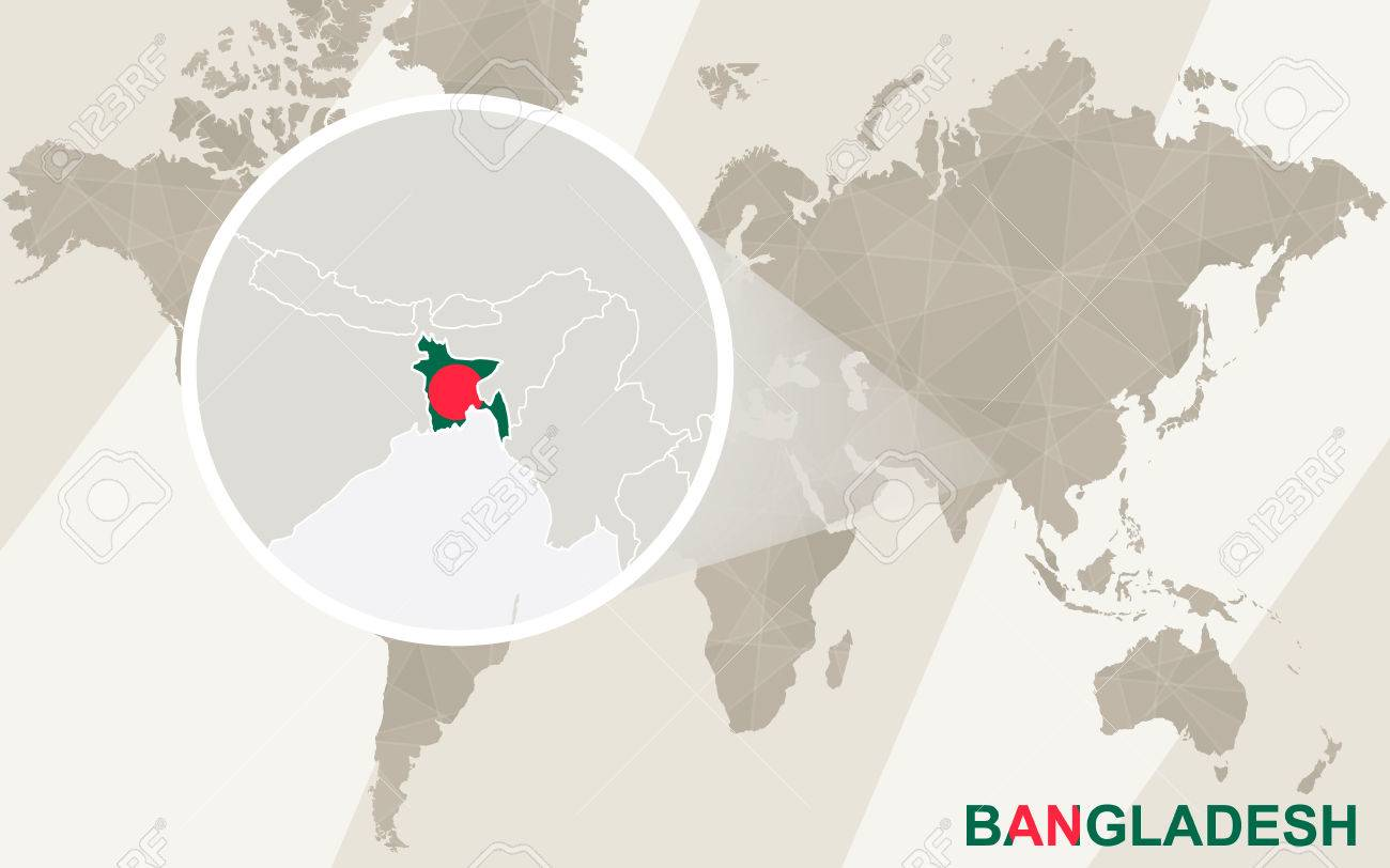 Zoom On Bangladesh Map And Flag. World Map. Royalty Free Cliparts ...