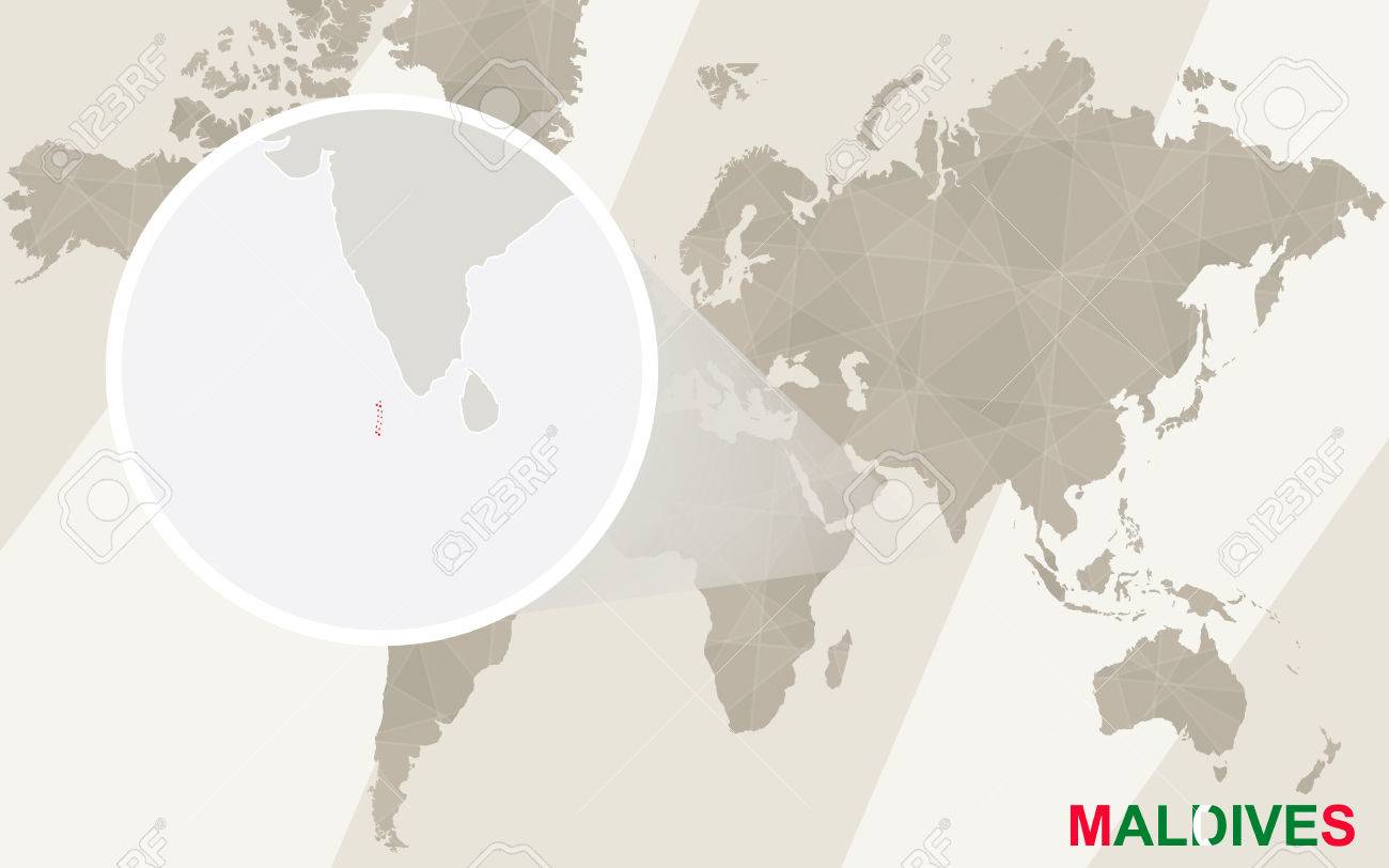 Maldives On A World Map.Zoom On Maldives Map And Flag World Map Royalty Free Cliparts