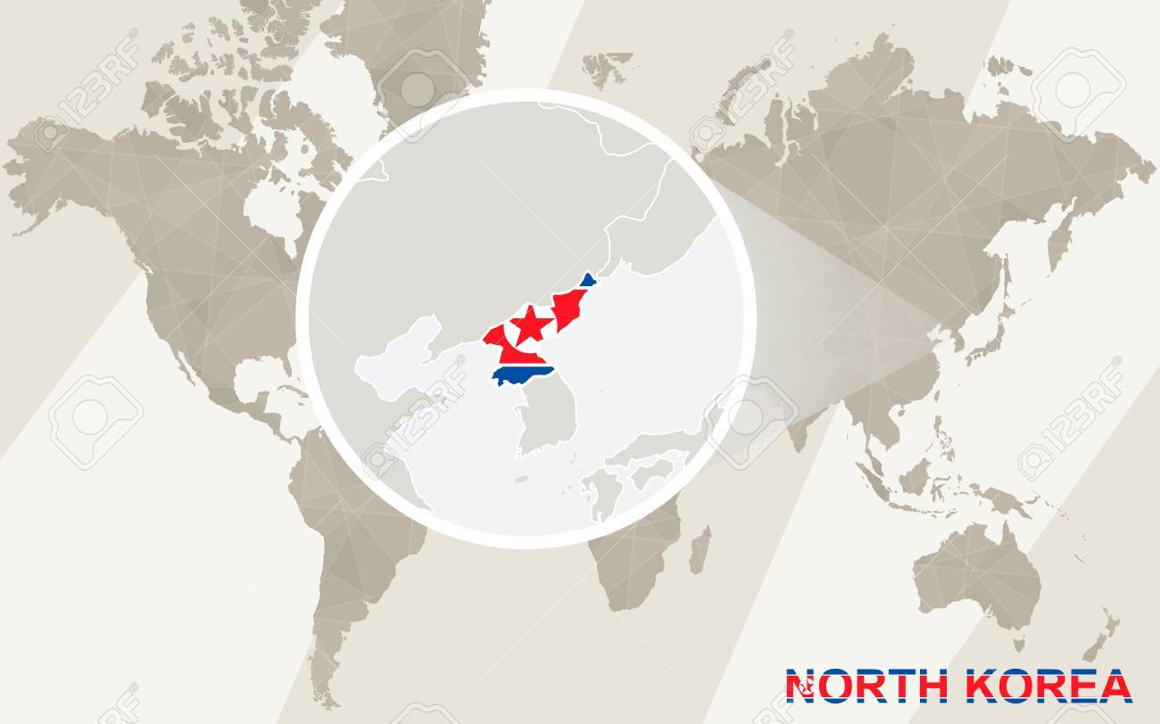 Zoom On North Korea Map And Flag World Map Royalty Free Cliparts - World map north korea