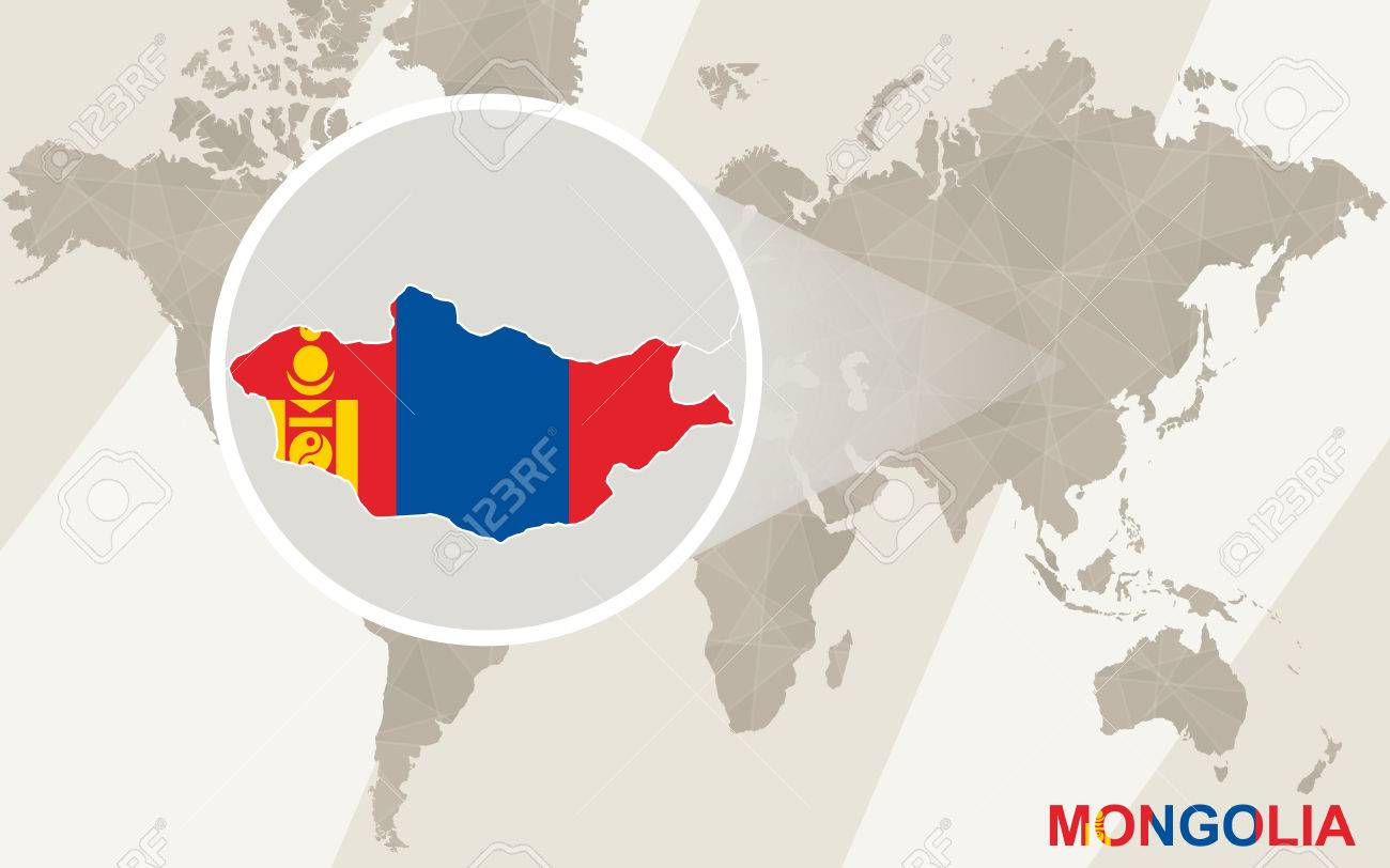 Zoom On Mongolia Map And Flag World Map Royalty Free Cliparts - Mongolia map vector