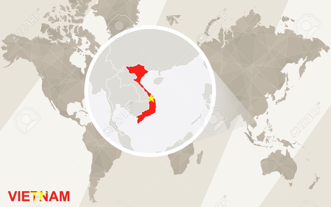 Zoom On Vietnam Map And Flag World Map Royalty Free Cliparts