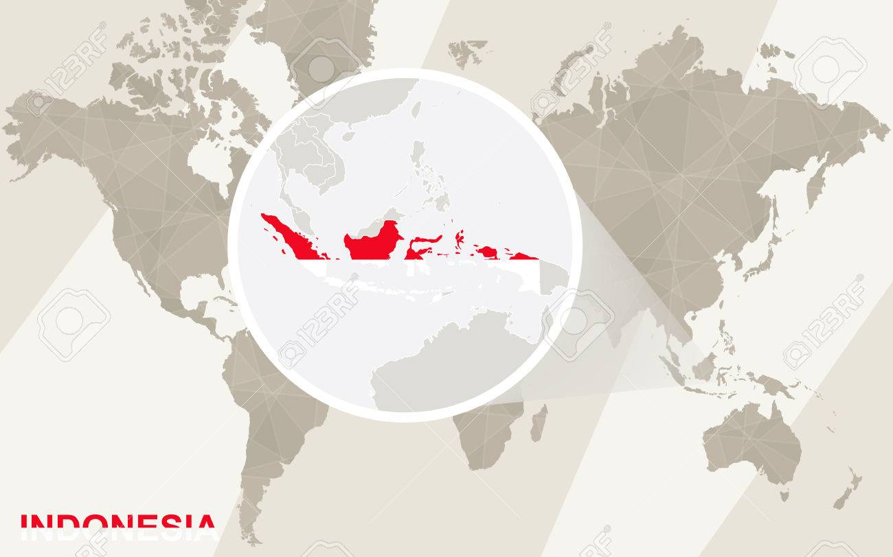 Zoom On Indonesia Map And Flag. World Map. Royalty Free Cliparts ...