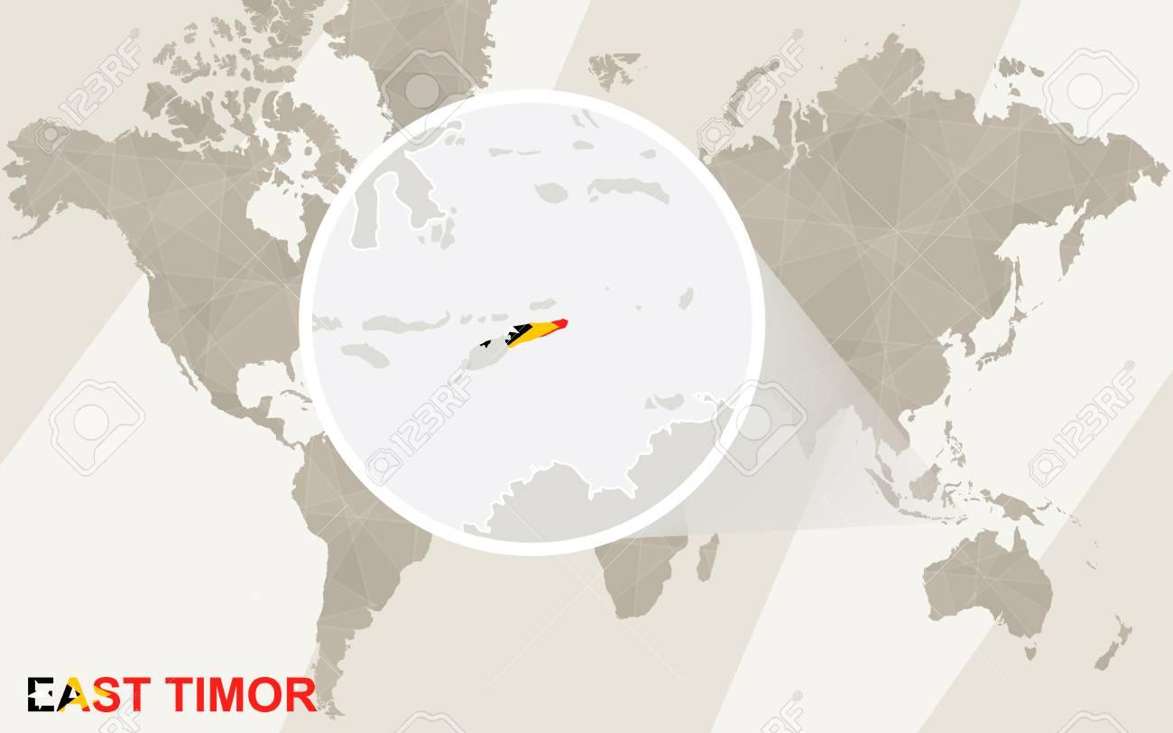 東ティモールの地図と国旗を拡大できます世界地図