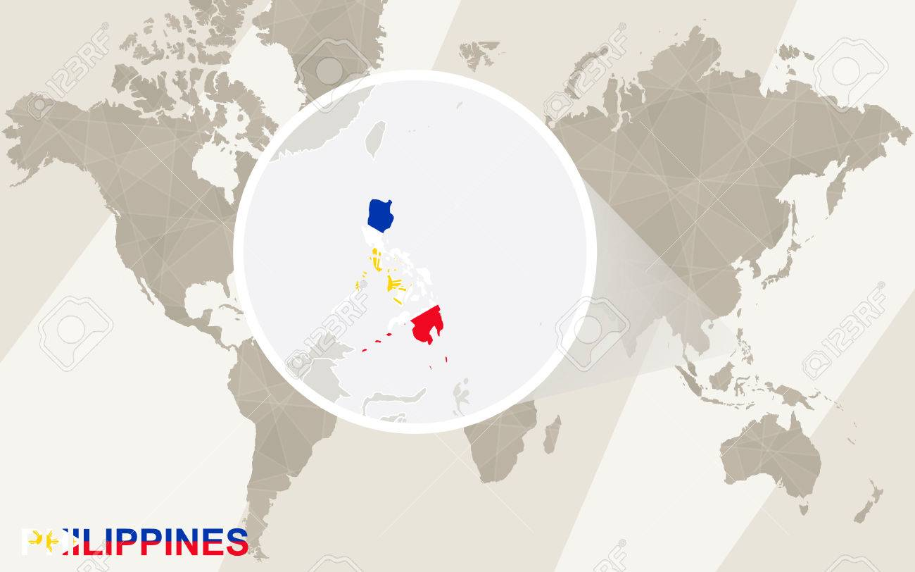 Zoom on philippines map and flag world map royalty free cliparts vector zoom on philippines map and flag world map gumiabroncs
