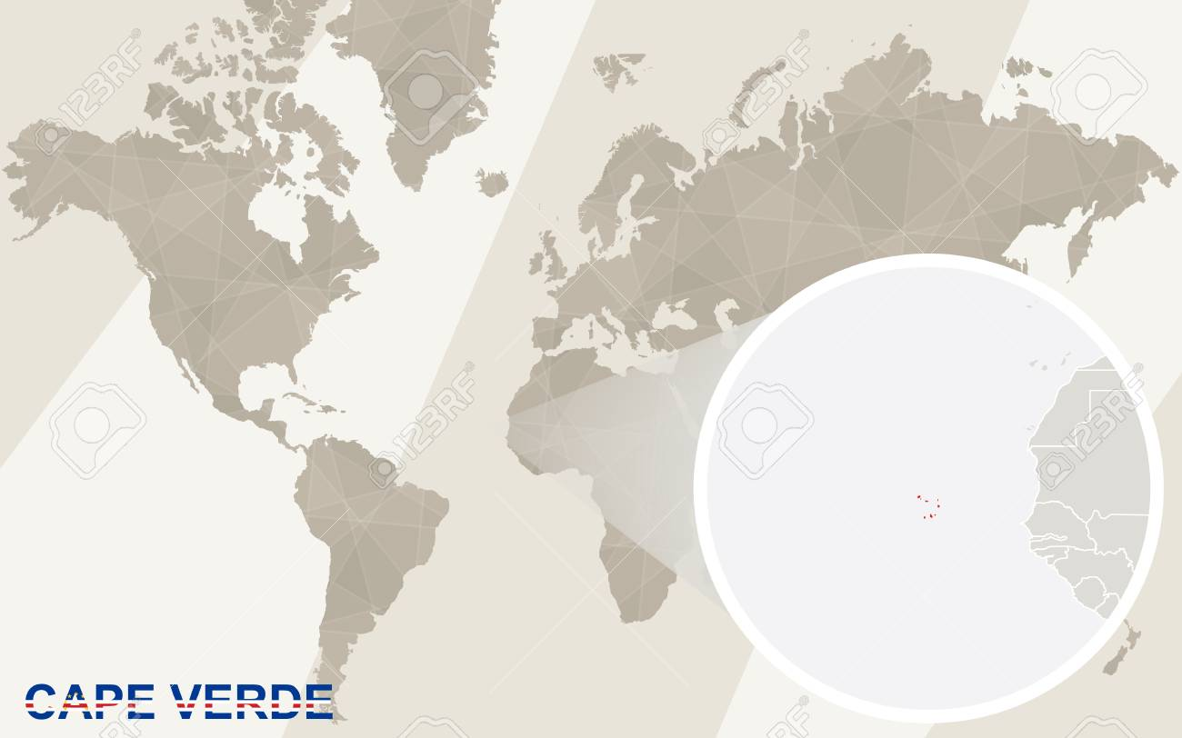Zoom On Cape Verde Map And Flag World Map Royalty Free Cliparts