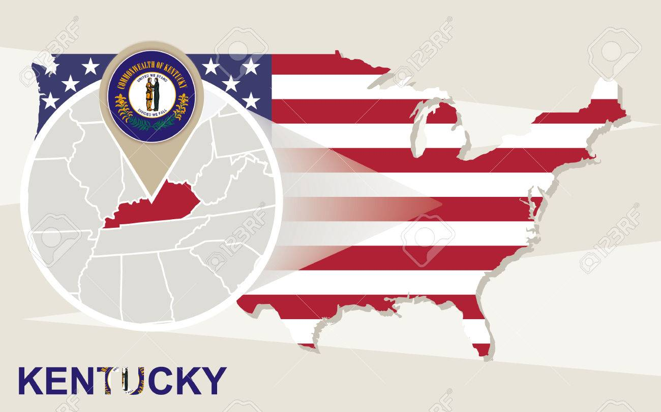 USA Map With Magnified Kentucky State Kentucky Flag And Map - Kentucky on a map of usa