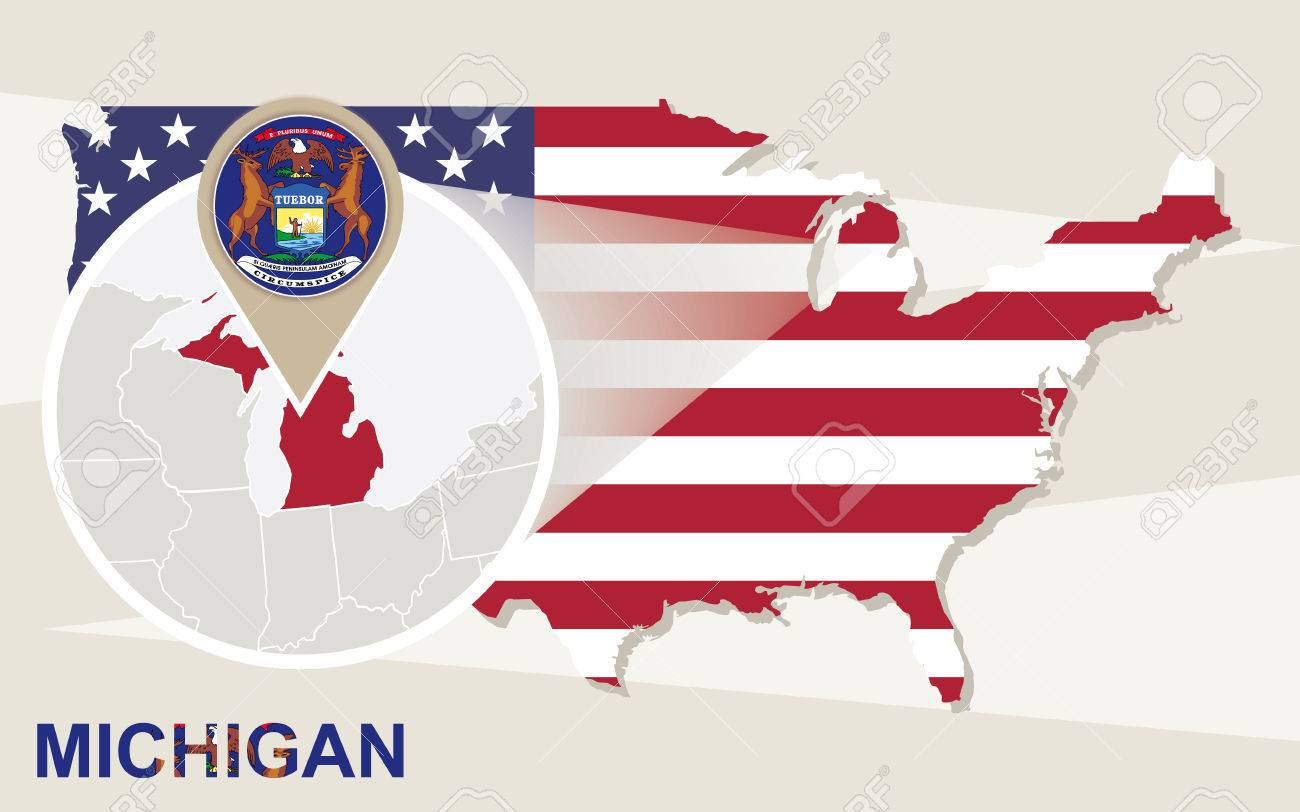 USA Map With Magnified Michigan State. Michigan Flag And Map ...