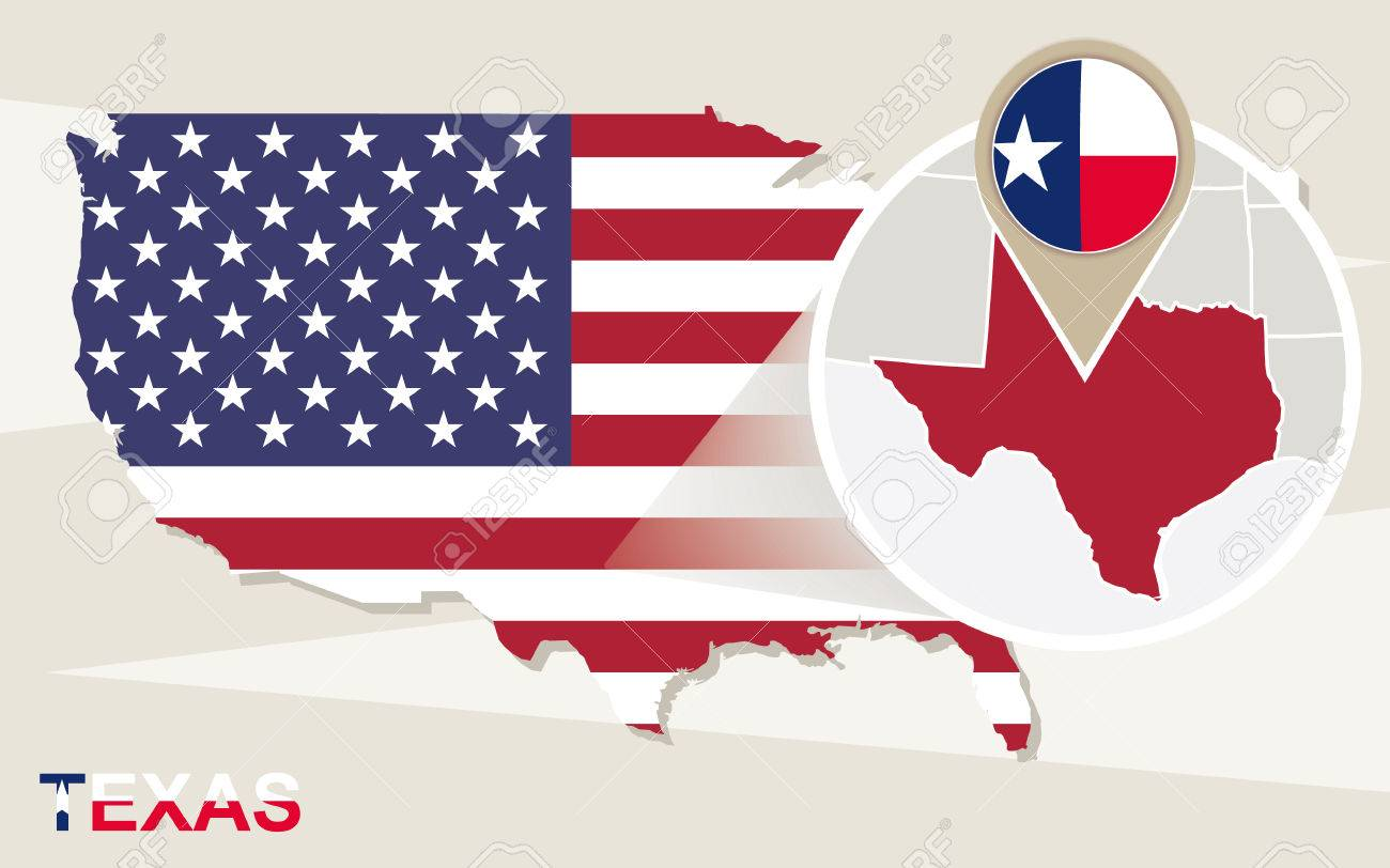 USA Map With Magnified Texas State Texas Flag And Map Royalty Free