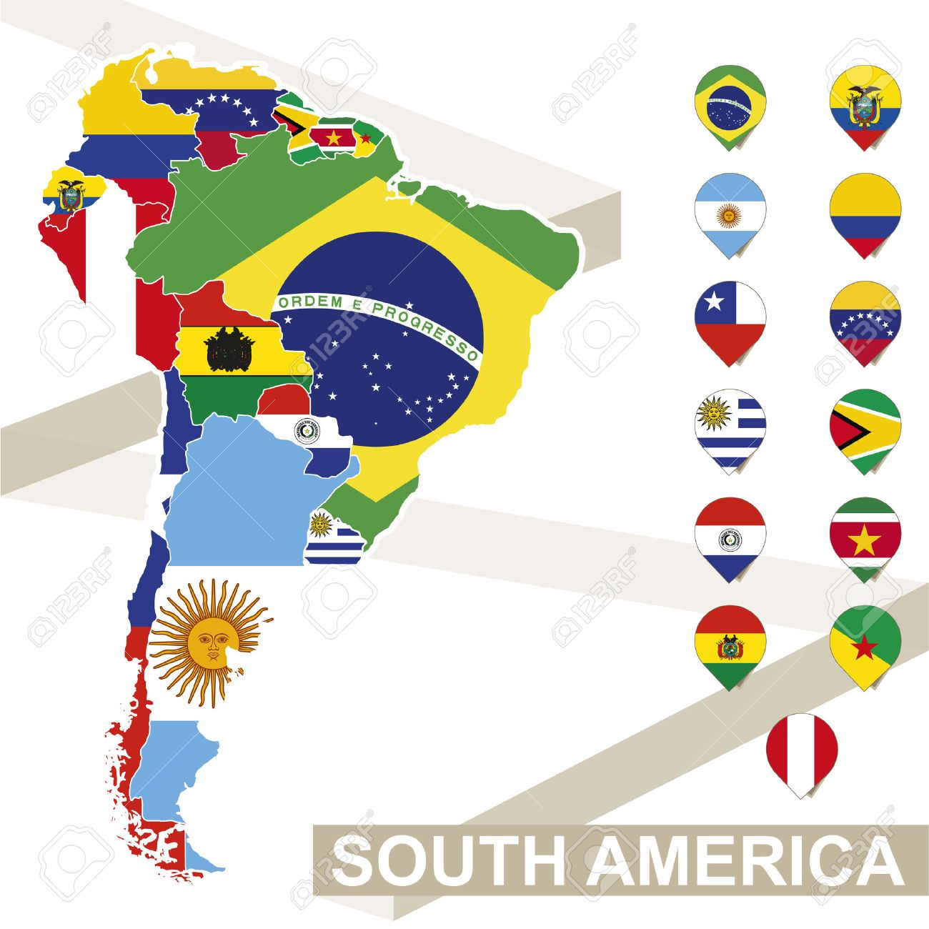 South America map with flags, South America map colored in with their flag. Vector Illustration. - 54207317