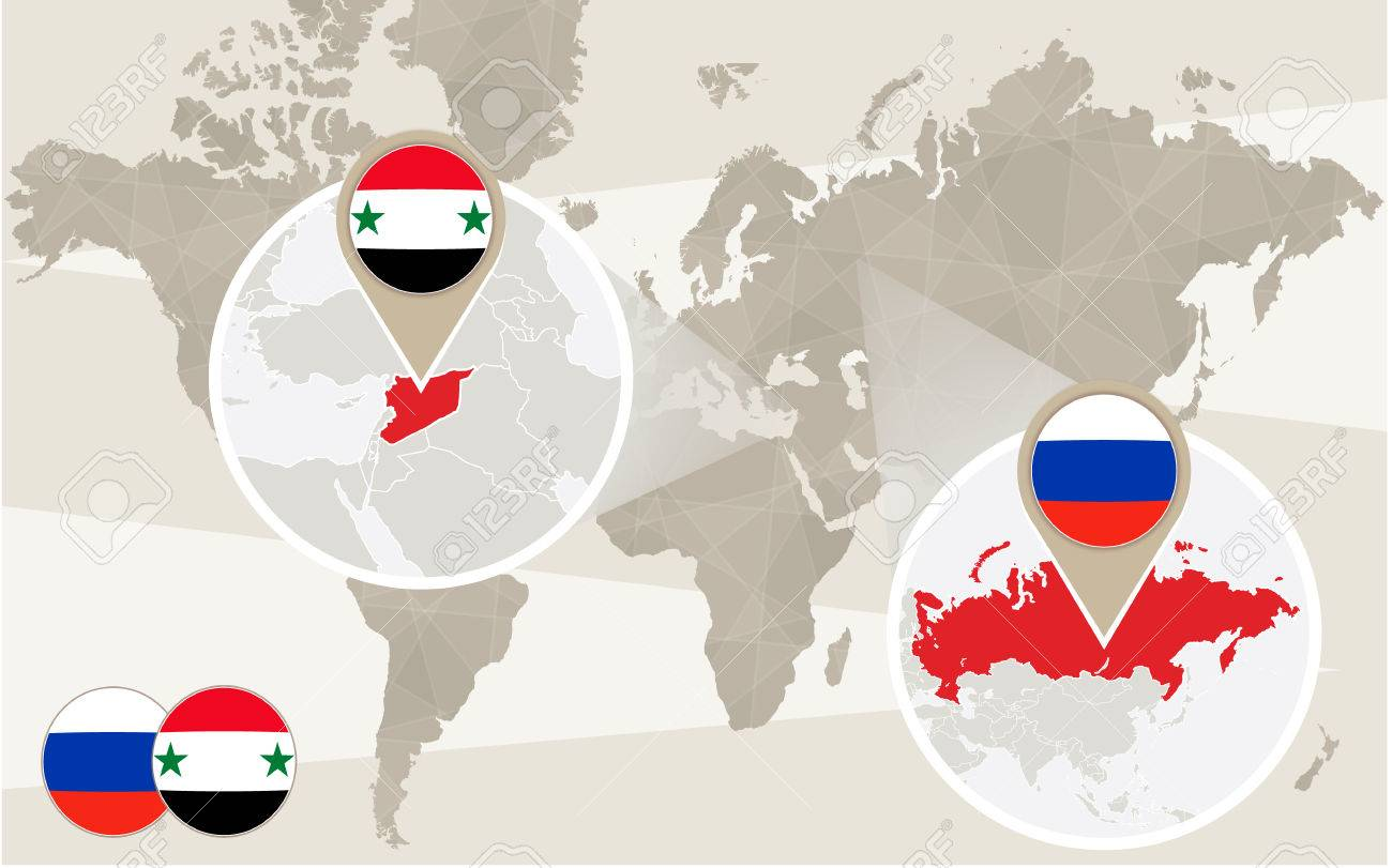 World Map Zoom On Syria, Russia. Conflict. Vector Illustration ...