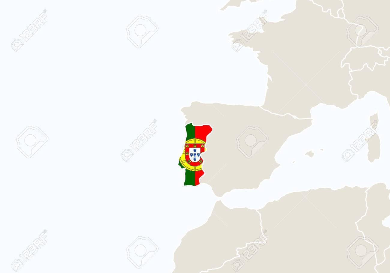 Europe With Highlighted Portugal Map Vector Illustration Royalty - Portugal map vector