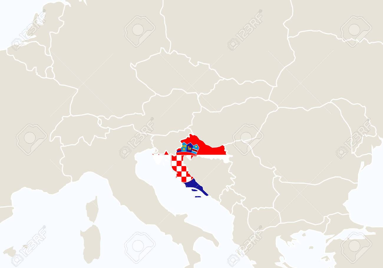 Europe With Highlighted Croatia Map Vector Illustration Royalty