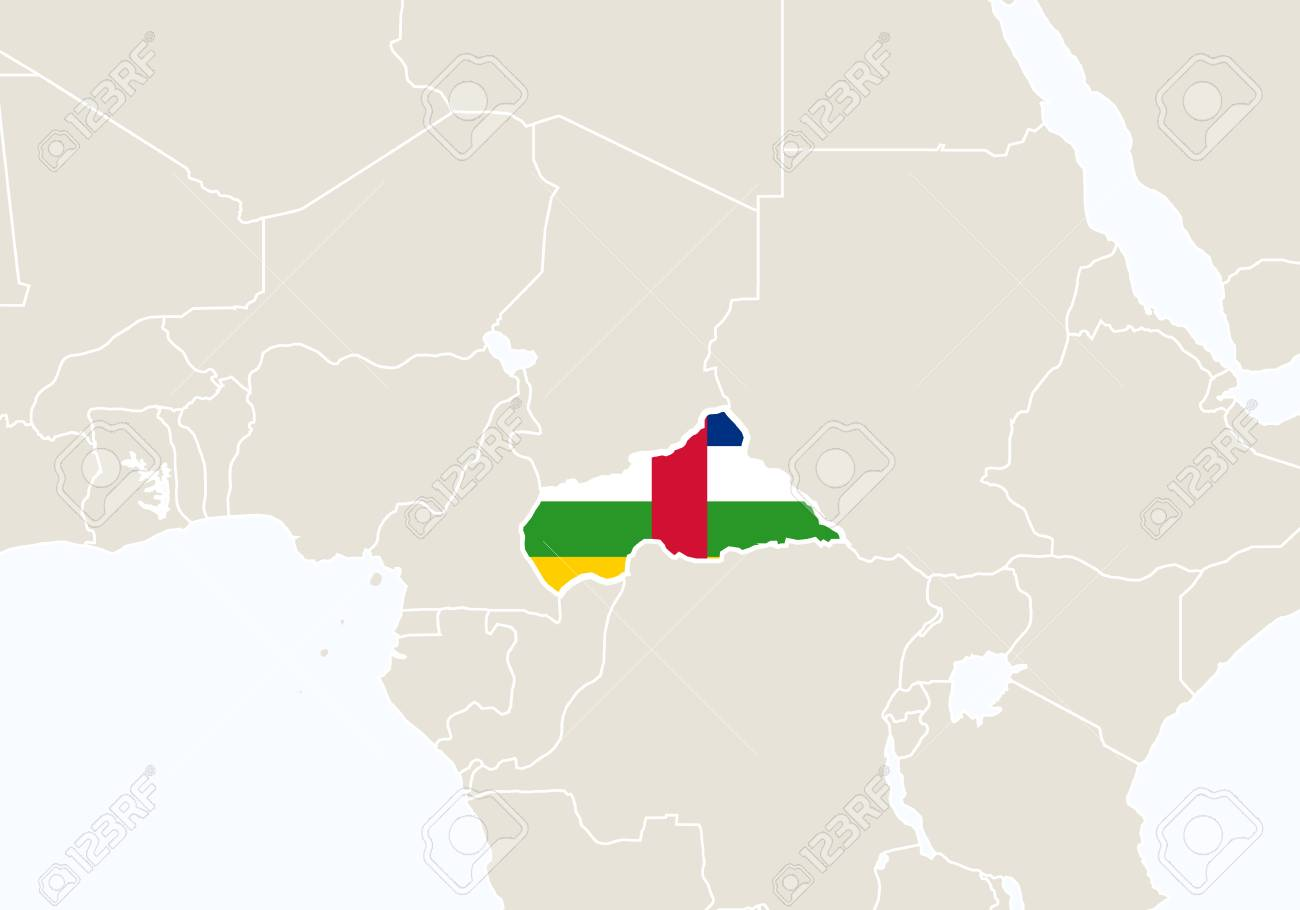 Africa With Highlighted Central African Republic Map Vector