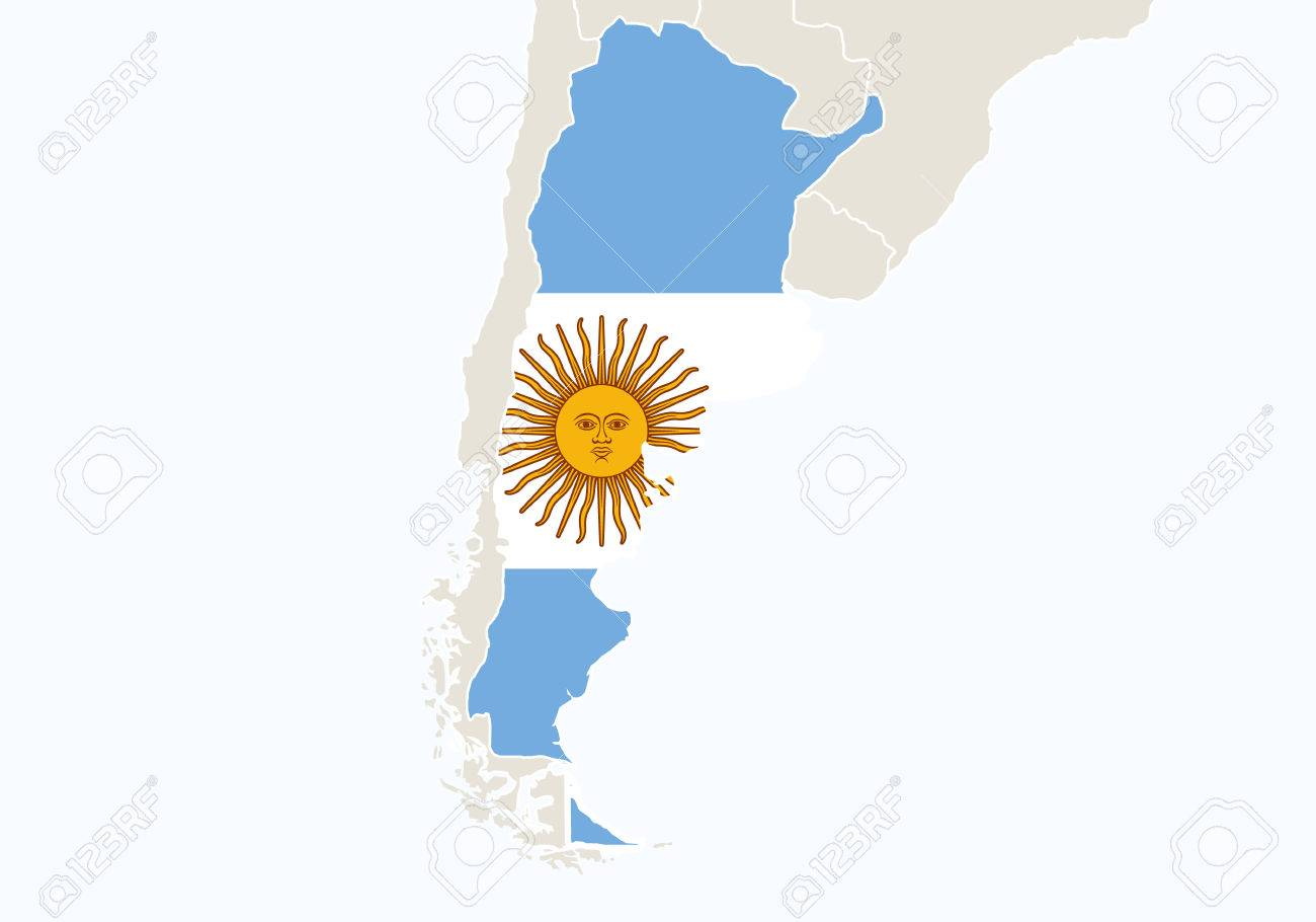 South America With Highlighted Argentina Map Vector Illustration - South america argentina map