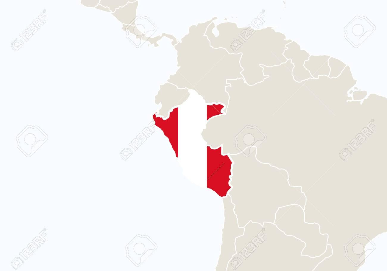 Peru Karte Südamerika.Stock Photo