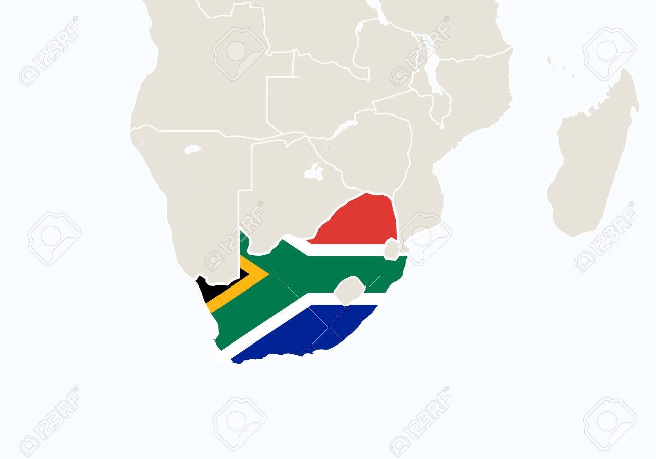 Carte Ign Afrique Du Sud.Afrique A Souligne La Carte Afrique Du Sud Vector Illustration