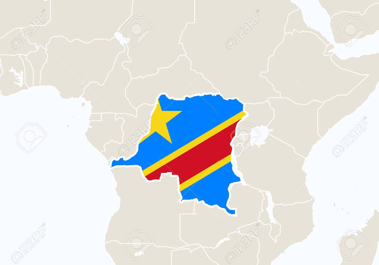 Africa With Highlighted Democratic Republic Of The Congo Map