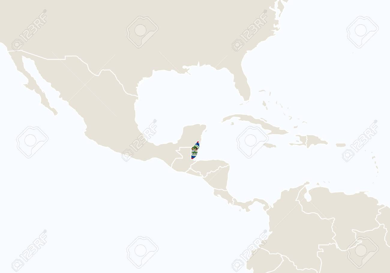 Central America With Highlighted Belize Map. Vector Illustration ...