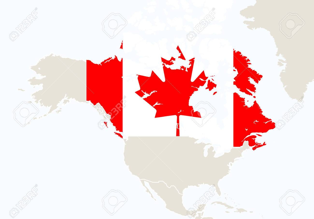 North America with highlighted Canada map. Illustration.