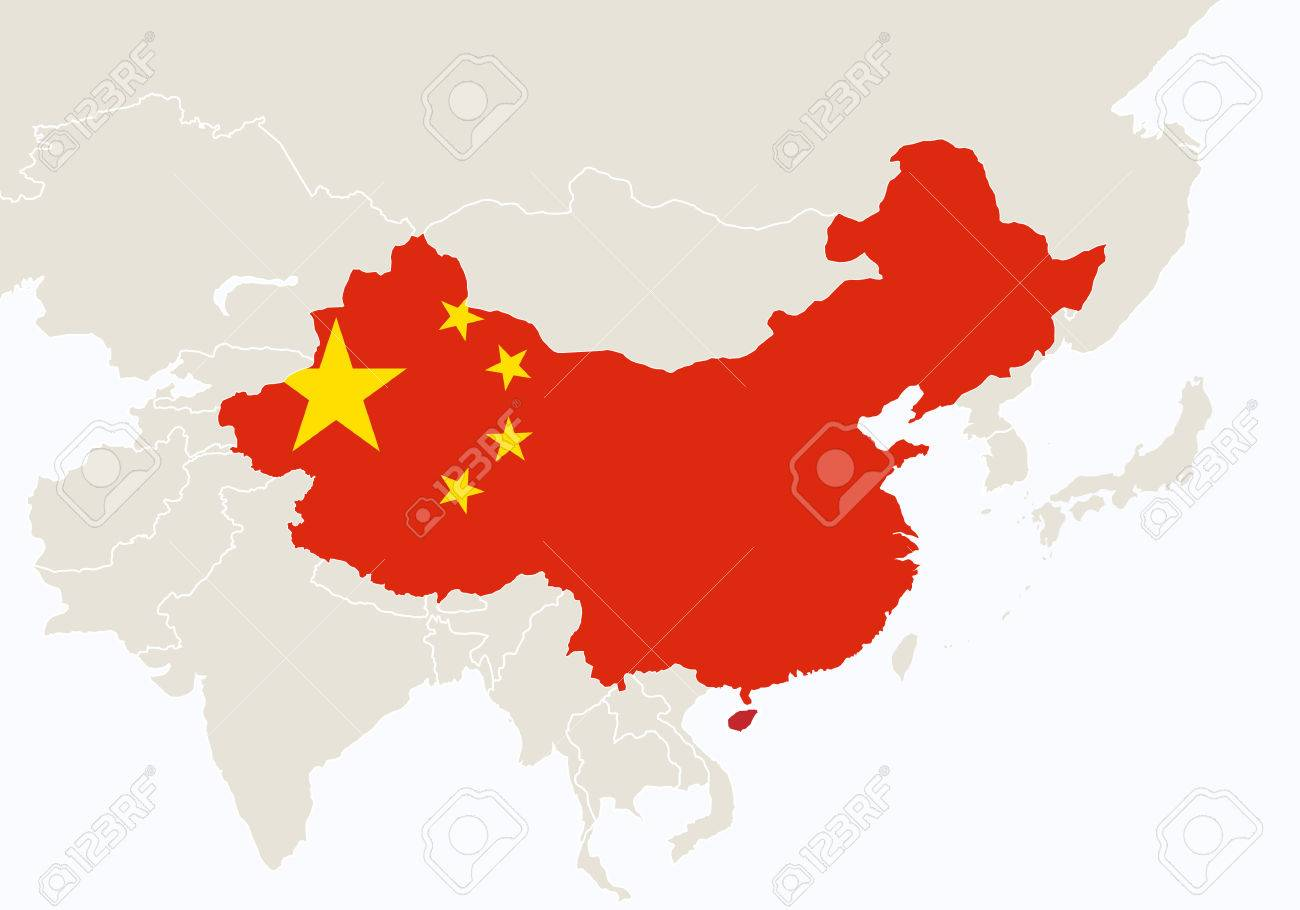 Map Of Asia And China.Asia With Highlighted China Map Illustration