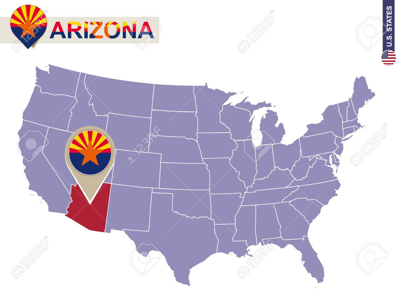 Arizona State On USA Map. Arizona Flag And Map. US States. Royalty ...