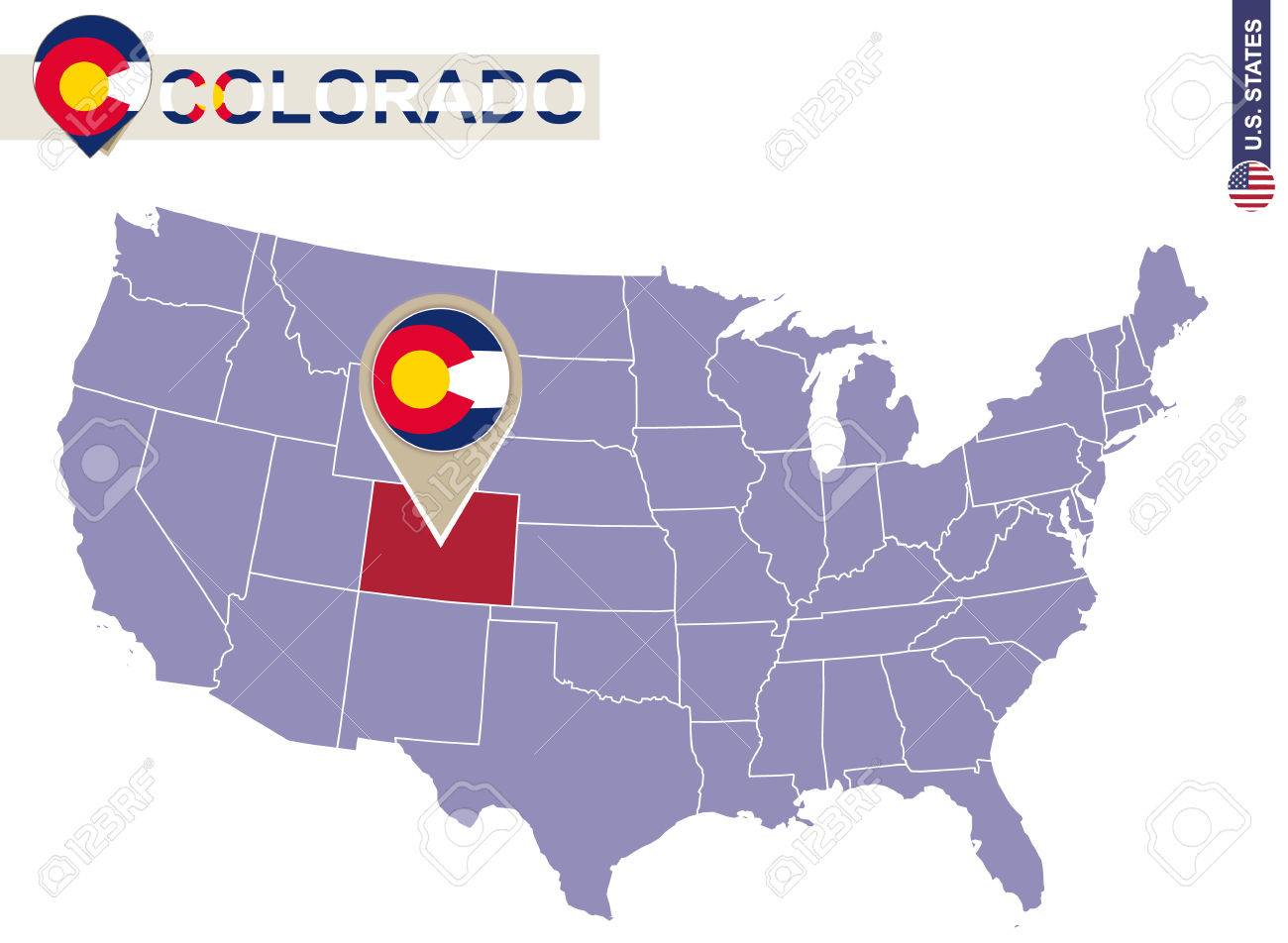 Colorado State On USA Map. Colorado Flag And Map. US States
