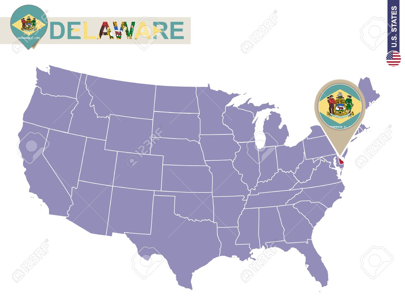 Delaware State On Usa Map Delaware Flag And Map Us States Royalty - Delaware-on-a-us-map