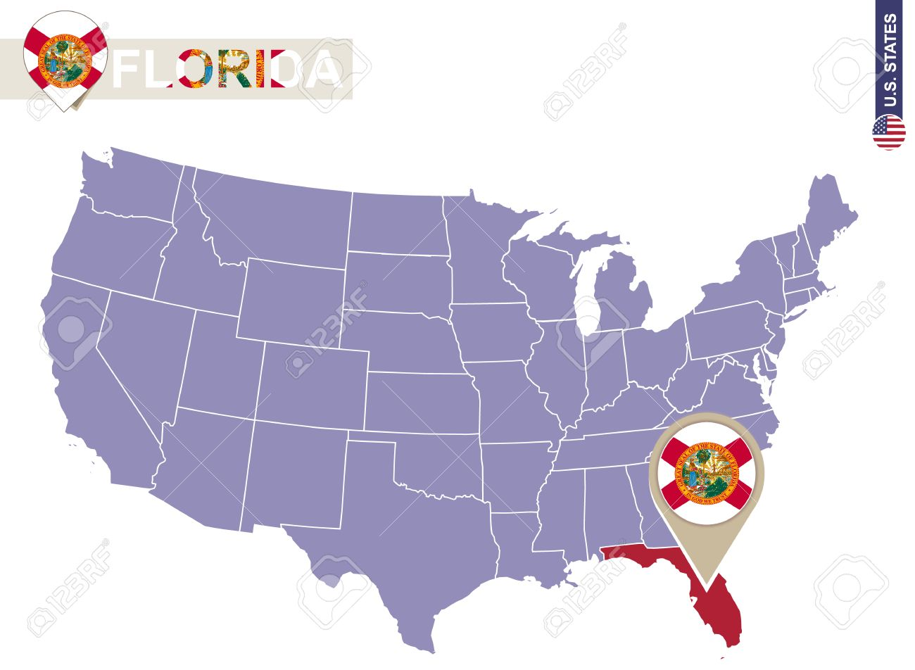 Florida State On USA Map Florida Flag And Map US States Royalty - Maps of the us states