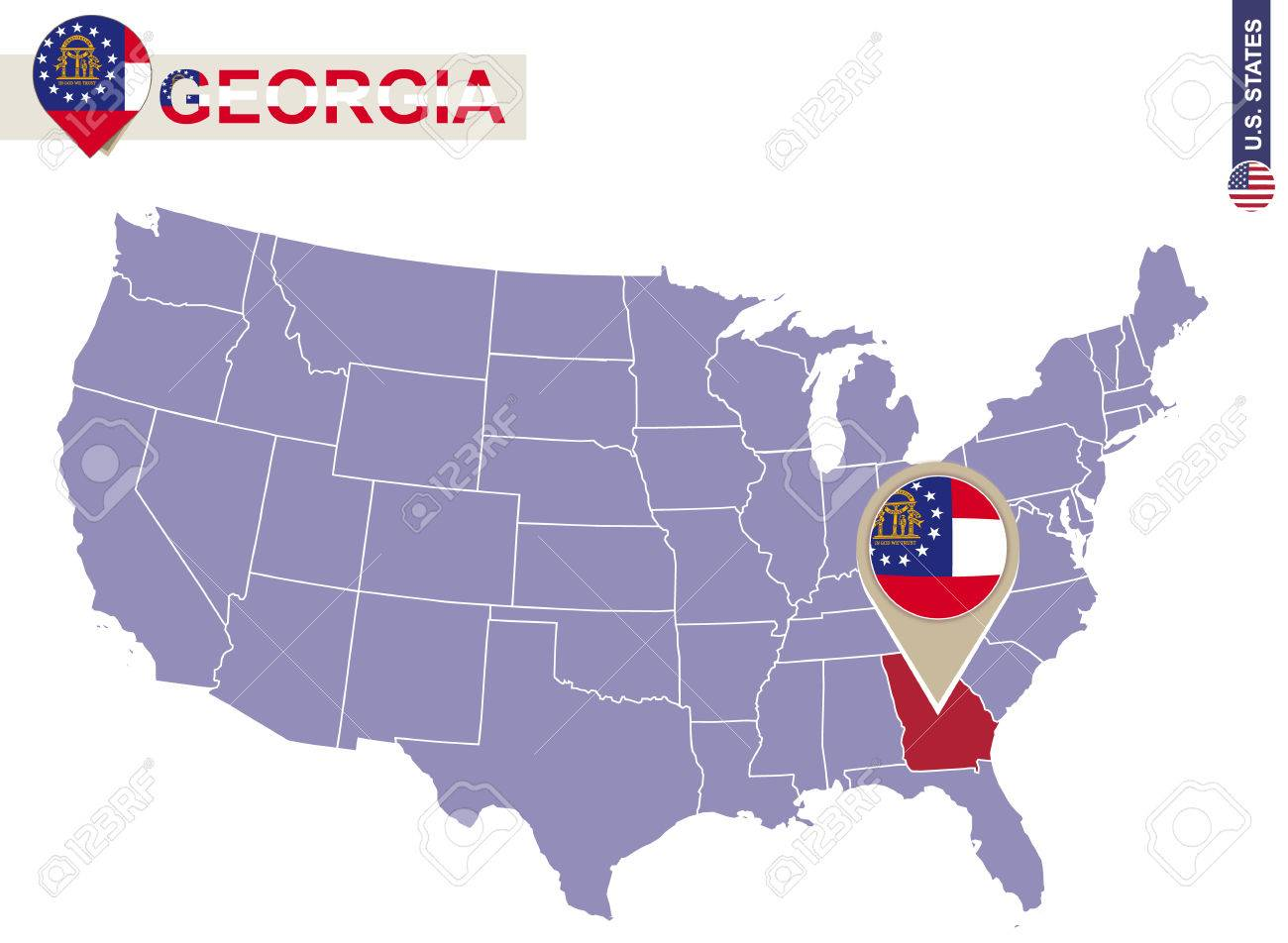 Georgia State On USA Map. Georgia Flag And Map. US States. Royalty ...