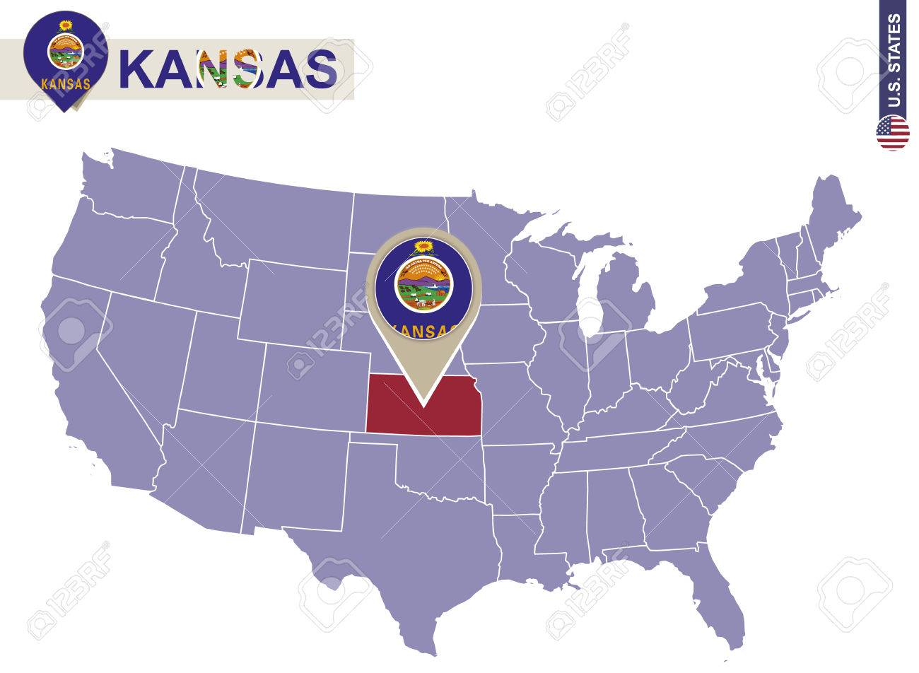 Kansas State On USA Map Kansas Flag And Map US States Royalty