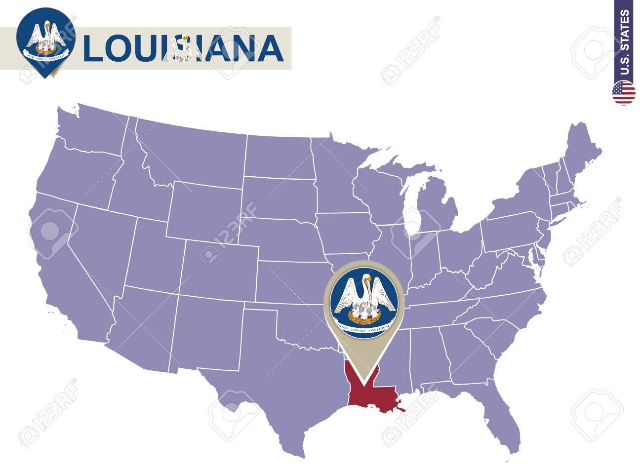 Louisiana State On Usa Map Louisiana Flag And Map Us States