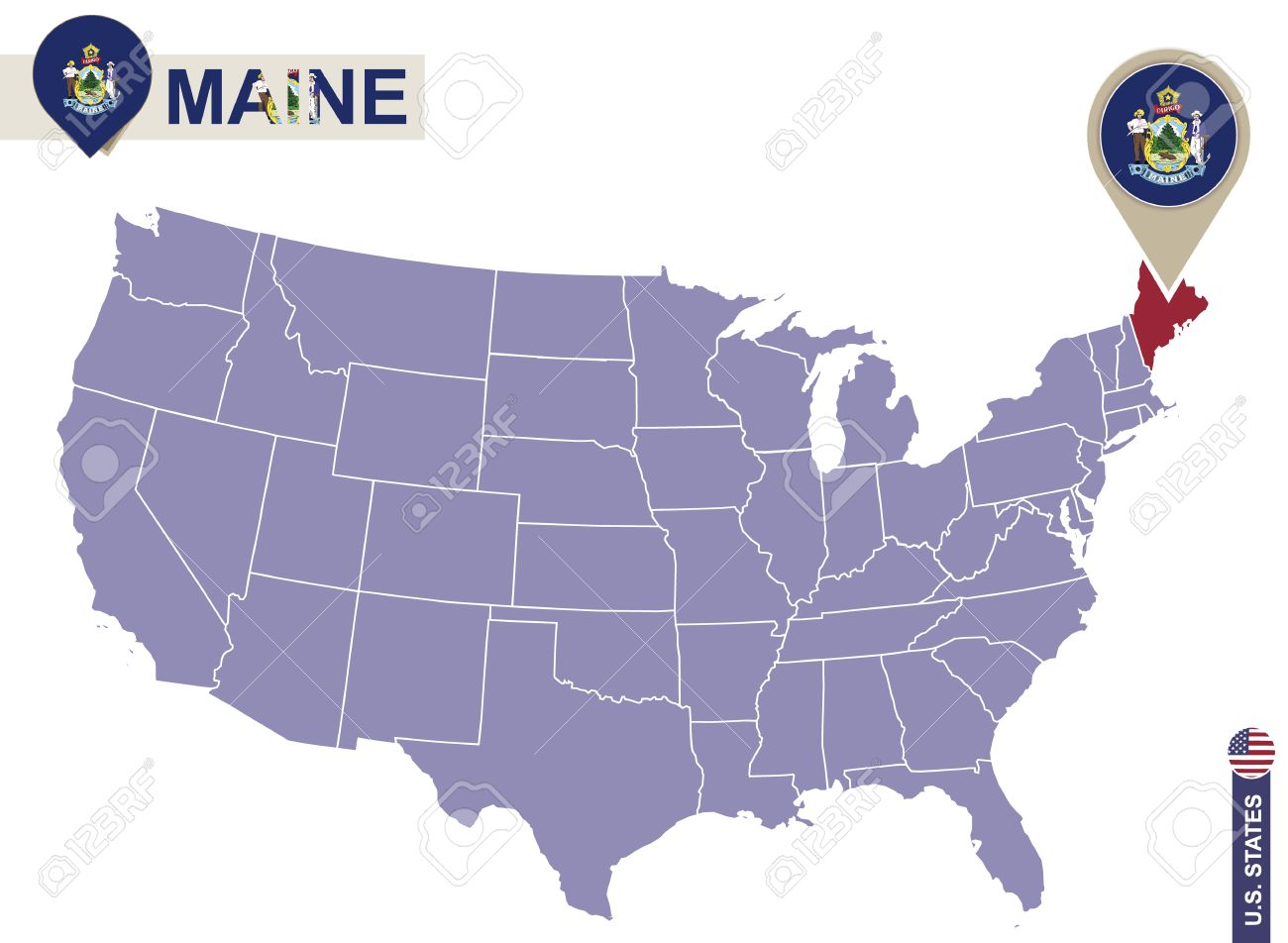 Maine On Map Of Usa Maine State On Usa Map Maine Flag And Map Us - Maine state usa map