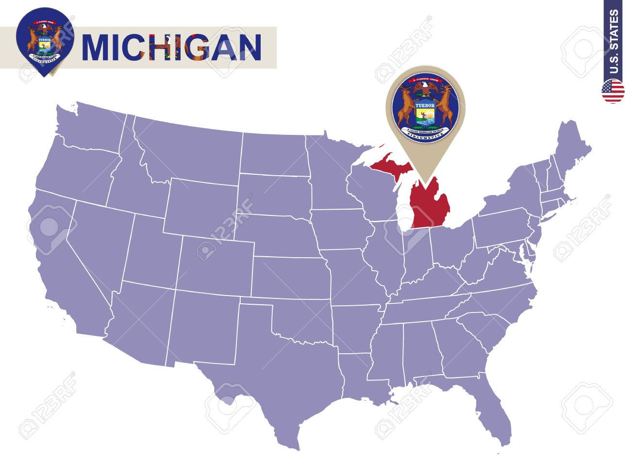 michigan state on usa map michigan flag and map us states stock vector