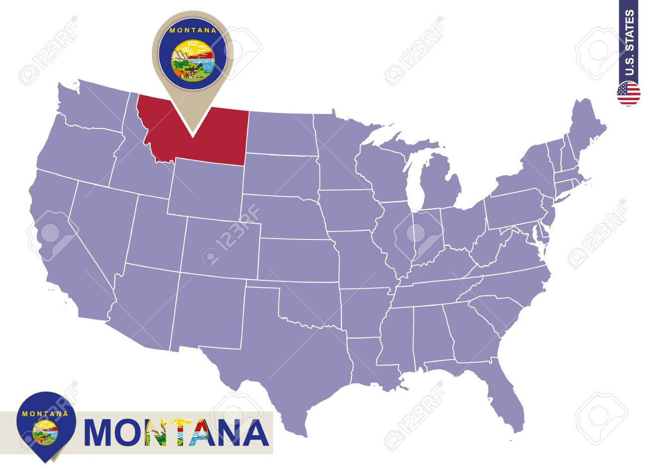 Montana State On Usa Map Montana Flag And Map Us States Royalty