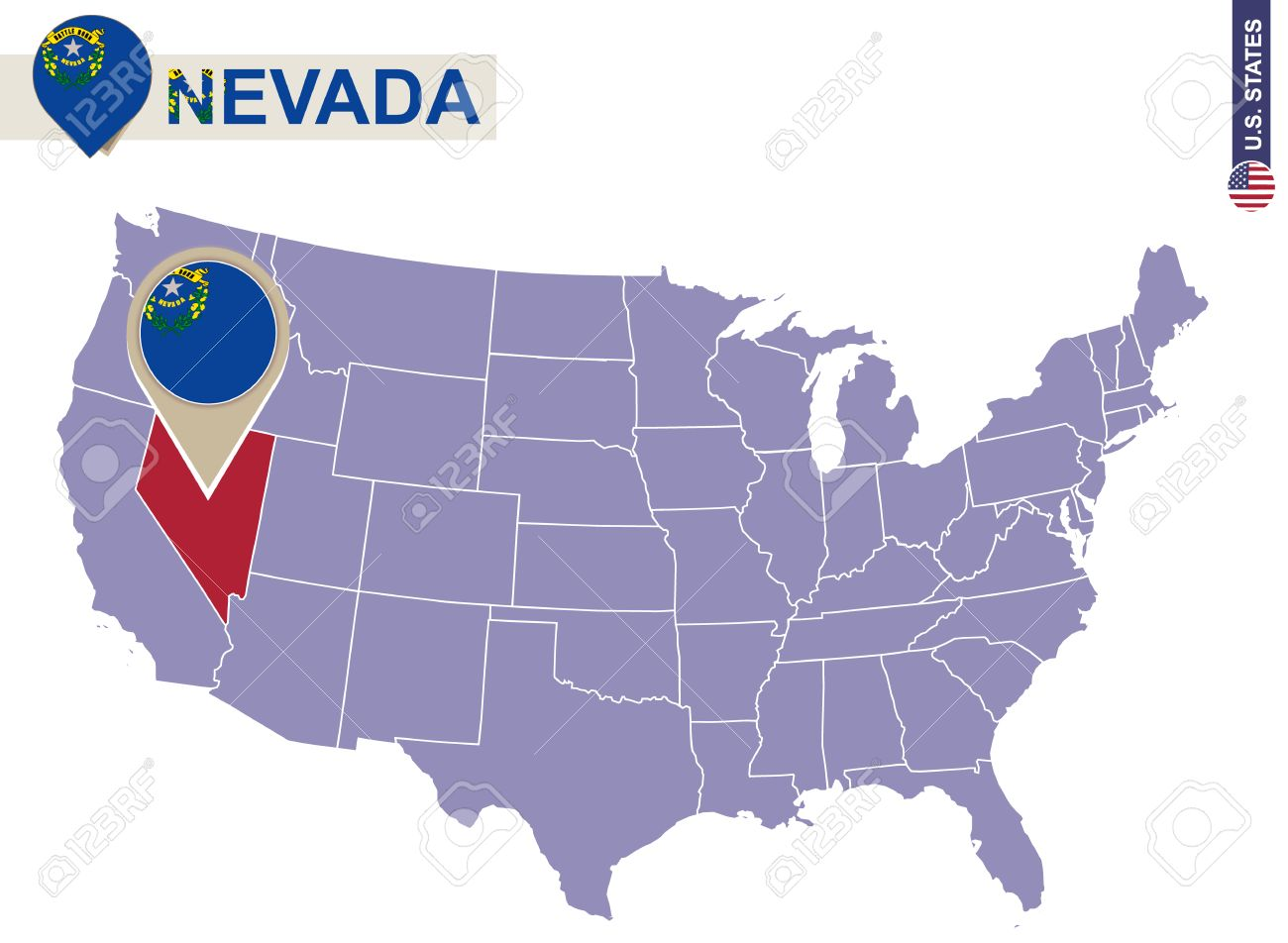 Nevada State On USA Map Nevada Flag And Map US States Royalty - Nevada on us map