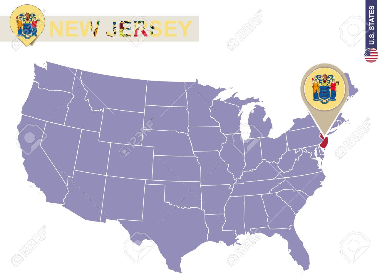 New Jersey On Us Map New Jersey State On USA Map. New Jersey Flag And Map. US States