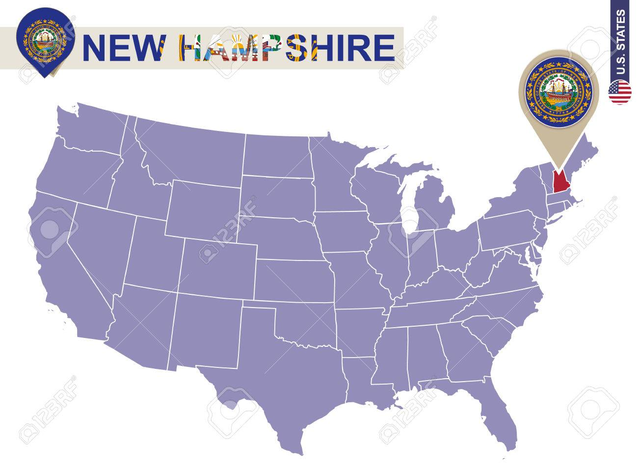 New Hampshire On Map Of Usa.New Hampshire State On Usa Map New Hampshire Flag And Map Us